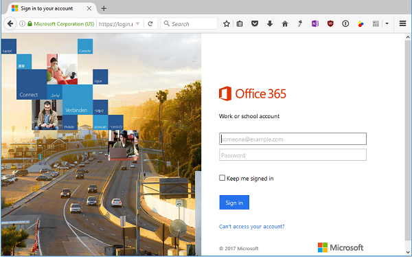 office 365 login not working
